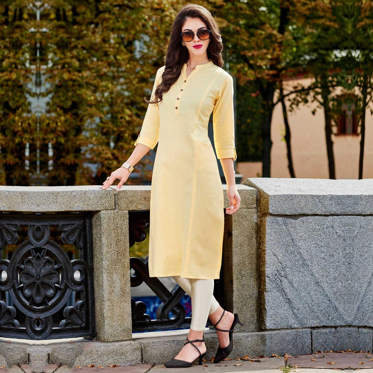 Yellow Cotton Designer Kurti