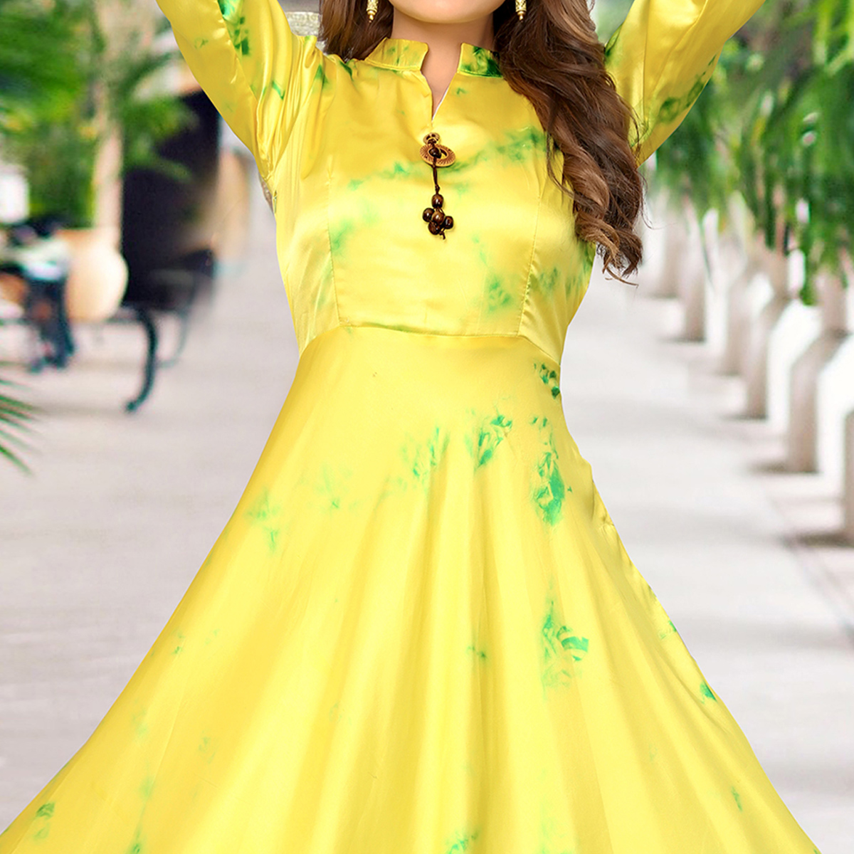 Excellent Lemon Yellow Colored Partywear Shibori Printed Satin Long Kurti