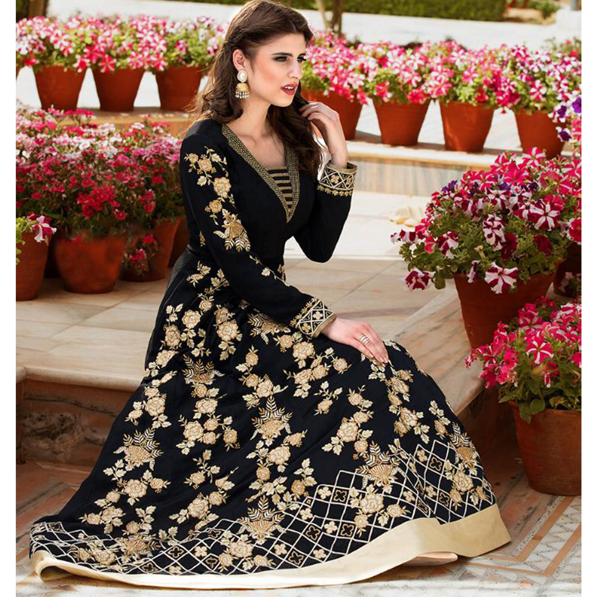 Refreshing Black Colored Party Wear Embroidered Faux Georgette Anarkali Suit