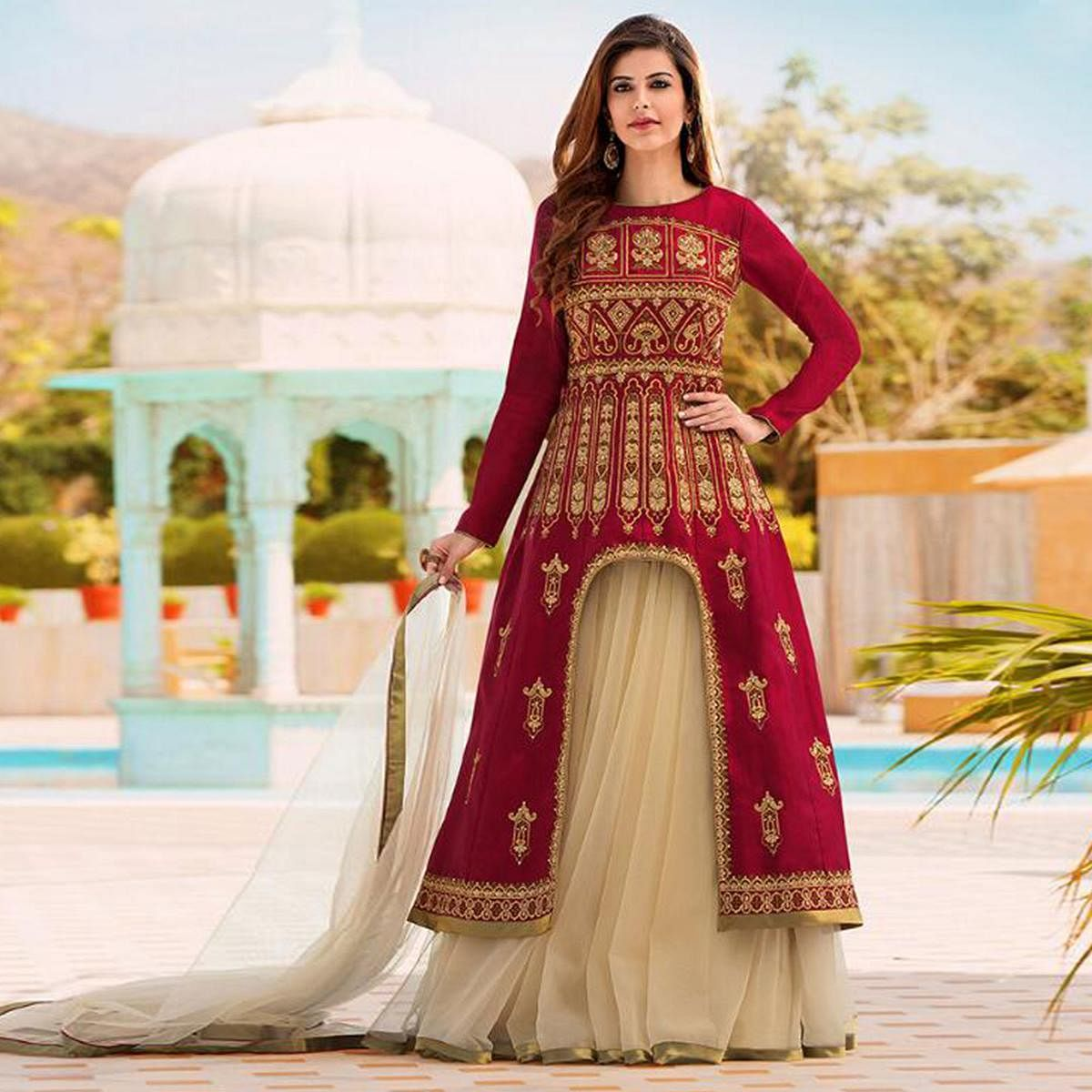 Elegant Red Colored Party Wear Embroidered Net Lehenga Kameez