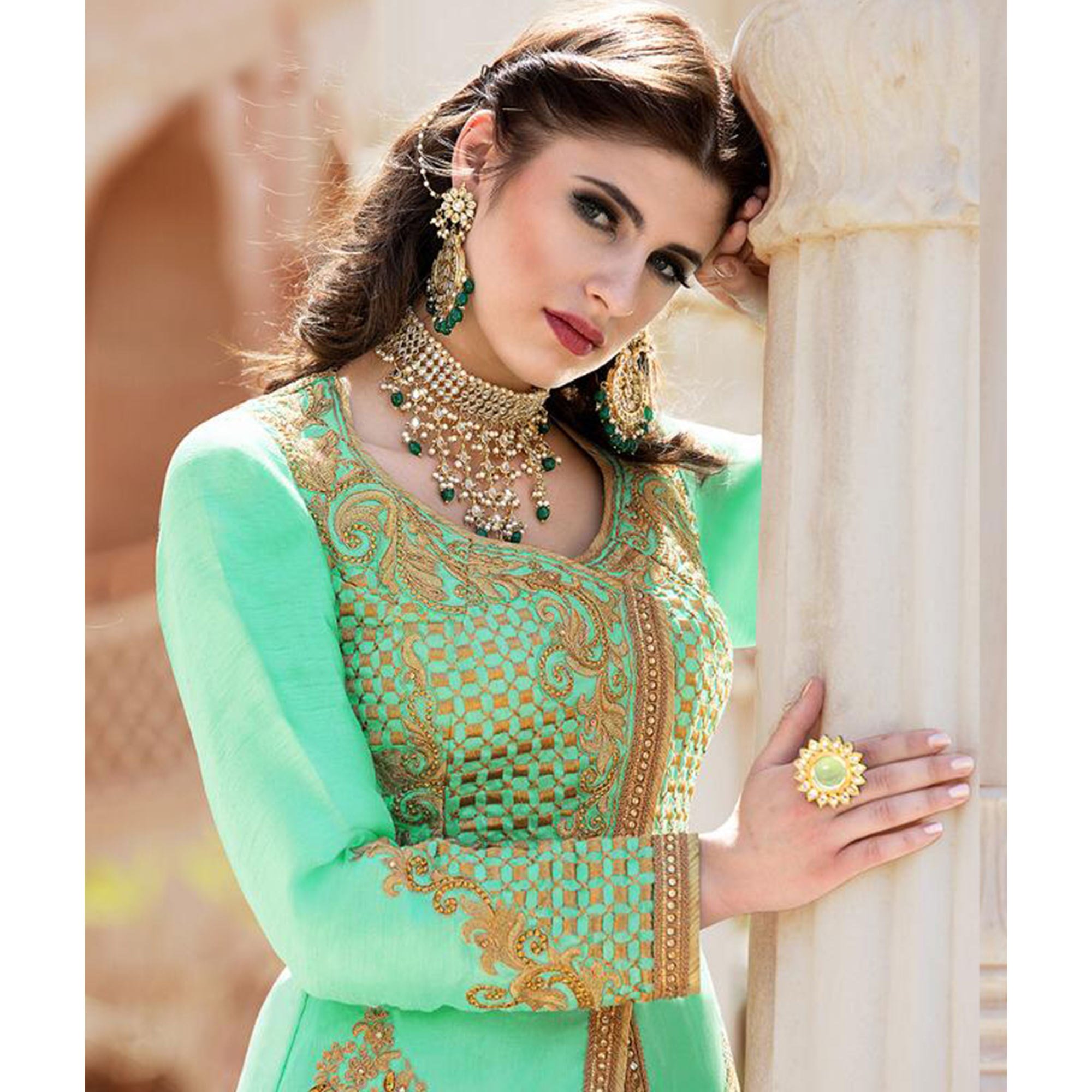 Alluring Turquoise Green Colored Party Wear Embroidered Poly Silk Lehenga Kameez