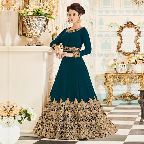 Opulent Rama Green Colored Party Wear Embroidered Georgette Anarkali Suit