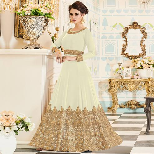 Dazzling Off White Colored Party Wear Embroidered Georgette Anarkali Suit