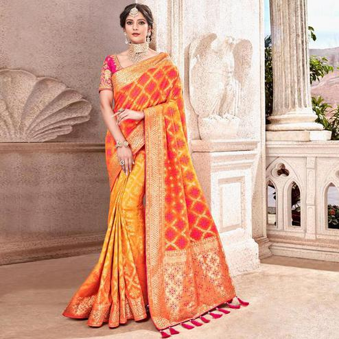Sensational Yellow Colored Partywear Woven Viscose Saree