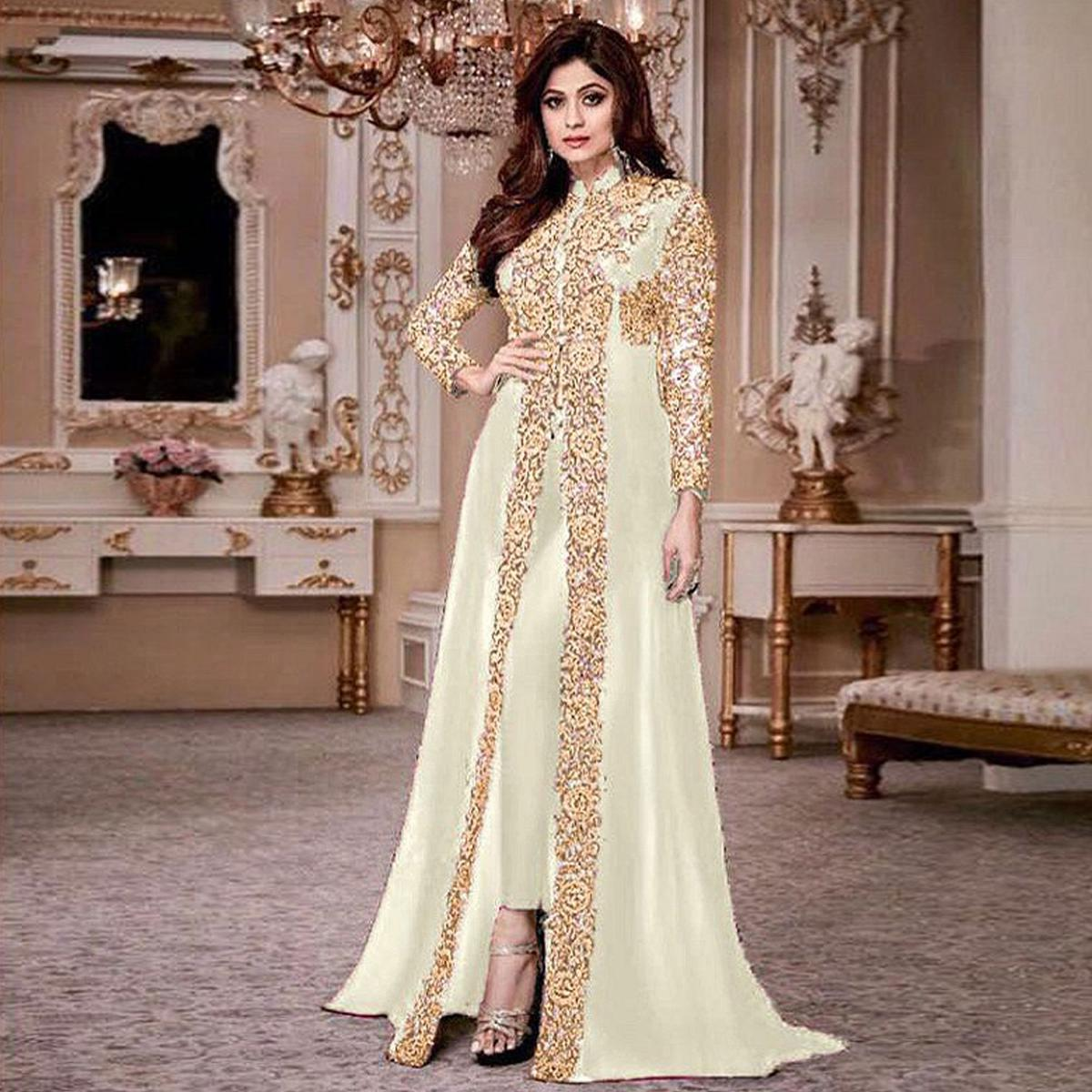 Prominent Off White Colored Party Wear Embroidered Georgette Anarkali Suit