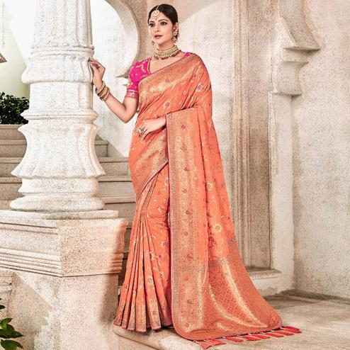 Opulent Peach Colored Partywear Woven Viscose Saree