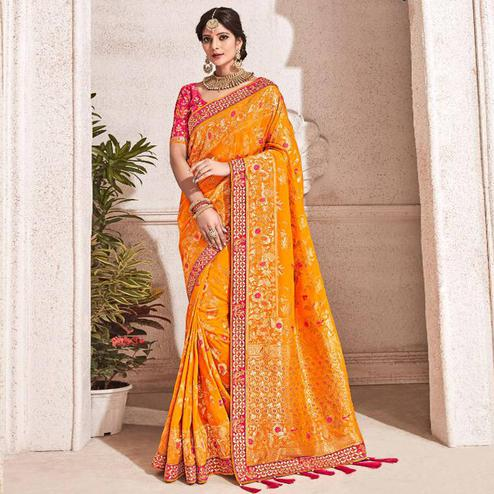 Dazzling Yellow Colored Partywear Woven Viscose Saree