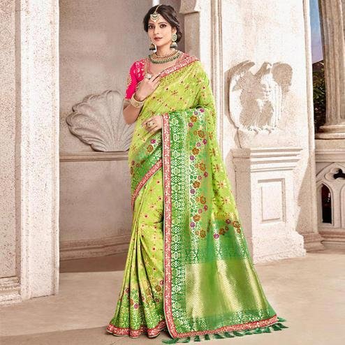 Breathtaking Green Colored Partywear Woven Viscose Saree