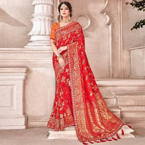 Impressive Red Colored Partywear Woven Viscose Saree