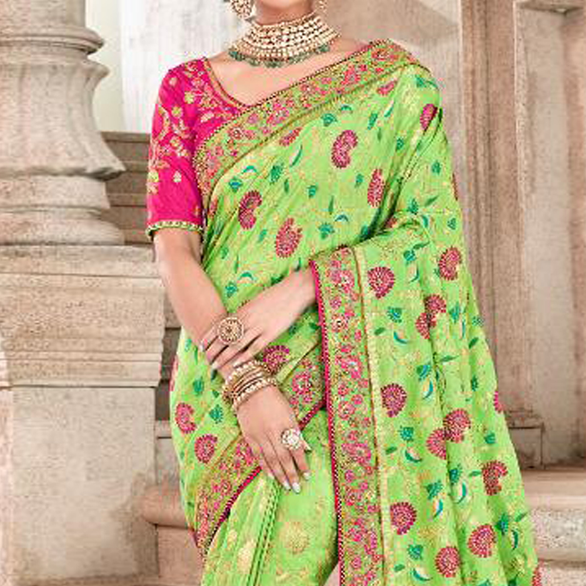 Innovative Green Colored Partywear Woven Viscose Saree