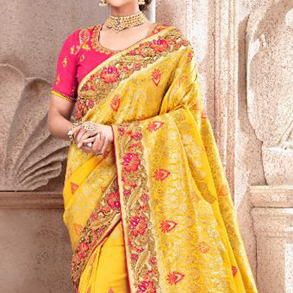 Gleaming Yellow Colored Partywear Woven Viscose Saree