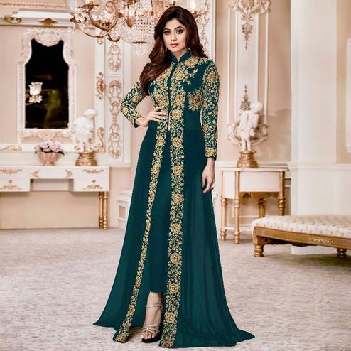 Capricious Teal Blue Colored Party Wear Embroidered Georgette Anarkali Suit