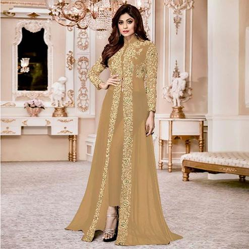 Adorning Beige Colored Party Wear Embroidered Georgette Anarkali Suit