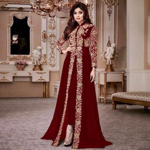 Captivating Maroon Colored Party Wear Embroidered Georgette Anarkali Suit