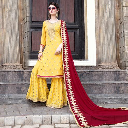 Intricate Yellow Colored Party Wear Embroidered Georgette Palazzo Suit