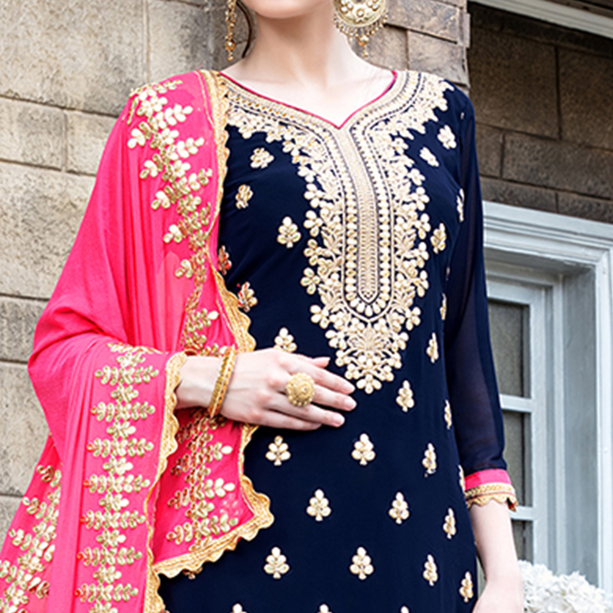 Desirable Navy Blue Colored Party Wear Embroidered Georgette Palazzo Suit