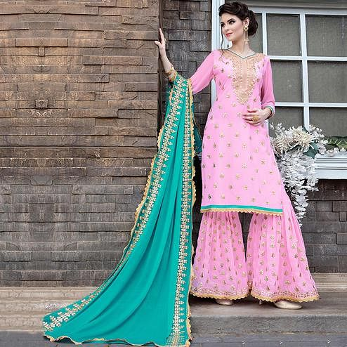 Pleasant Light Pink Colored Party Wear Embroidered Georgette Palazzo Suit