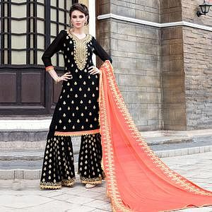Unique Black Colored Party Wear Embroidered Georgette Palazzo Suit