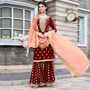 Refreshing Maroon Colored Party Wear Embroidered Georgette Palazzo Suit