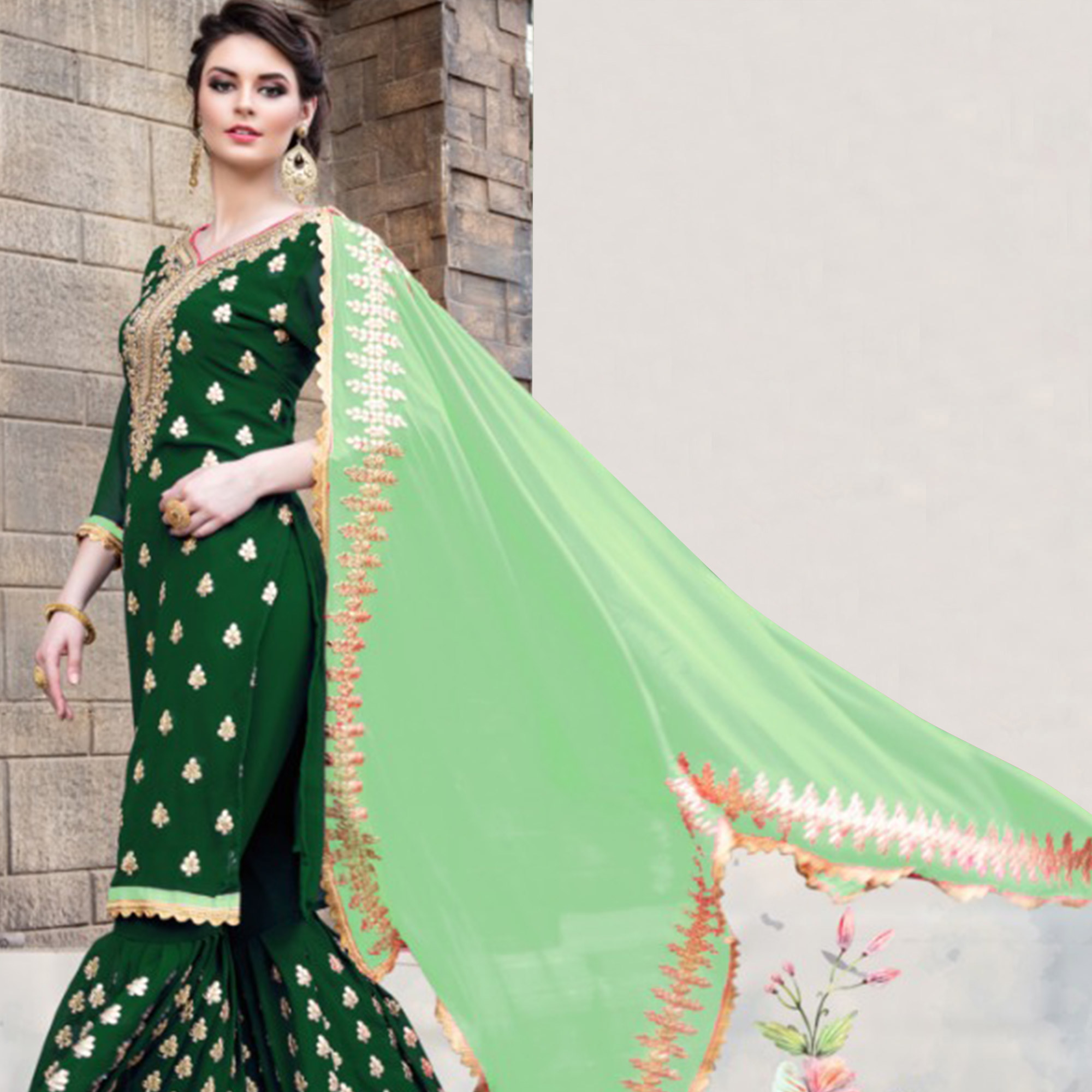 Elegant Green Colored Party Wear Embroidered Georgette Palazzo Suit