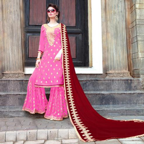 Alluring Pink Colored Party Wear Embroidered Georgette Palazzo Suit