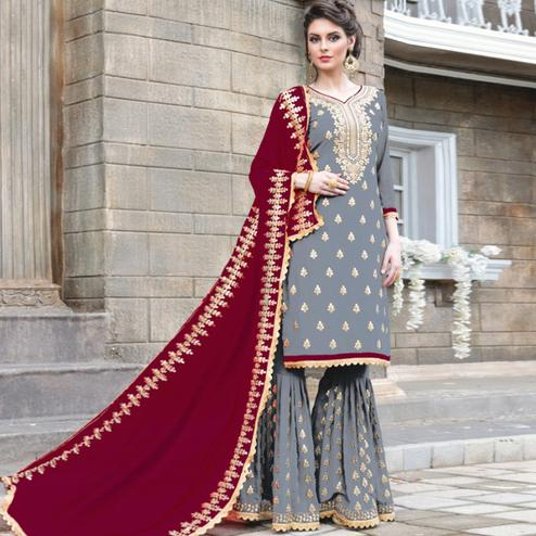 Radiant Grey Colored Party Wear Embroidered Georgette Palazzo Suit