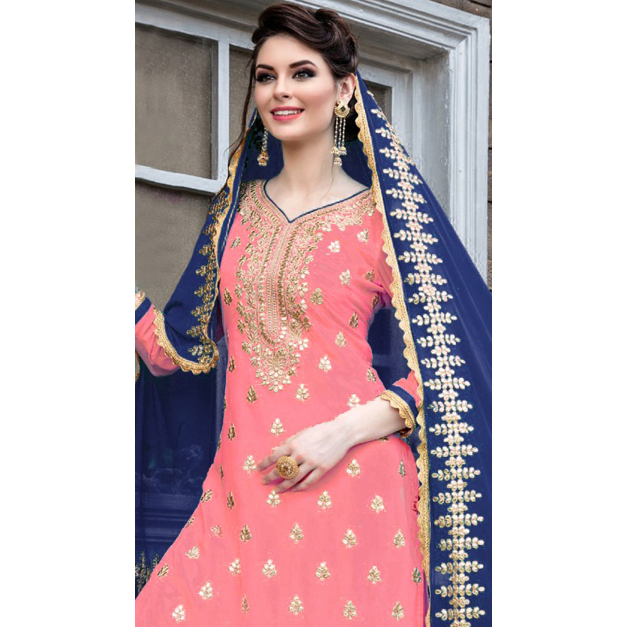 Sensational Soft Pink Colored Party Wear Embroidered Georgette Palazzo Suit