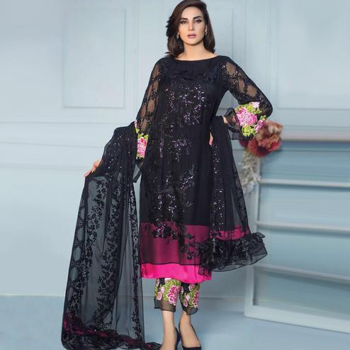 Stunning Black Colored Partywear Embroidered Georgette Suit