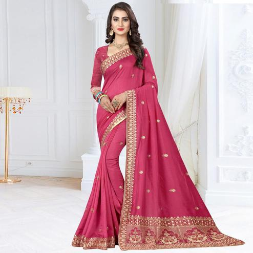 Beautiful Pink Colored Partywear Embroidered Art Silk Saree