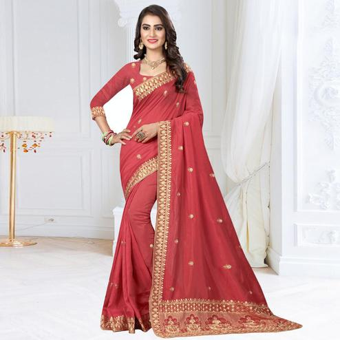 Flattering Coral Red Colored Partywear Embroidered Art Silk Saree