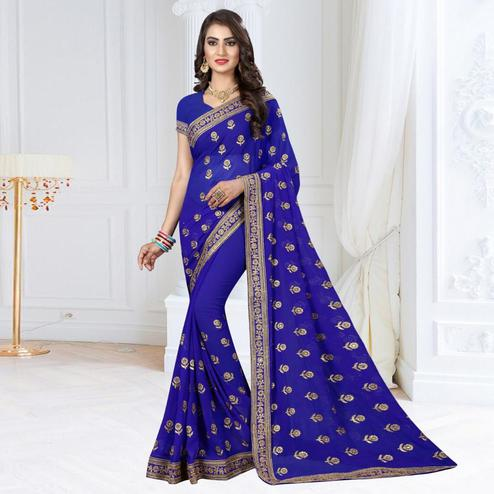 Classy Blue Colored Partywear Embroidered Georgette Saree