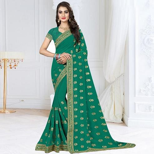 Attractive Turquoise Green Colored Partywear Embroidered Georgette Saree