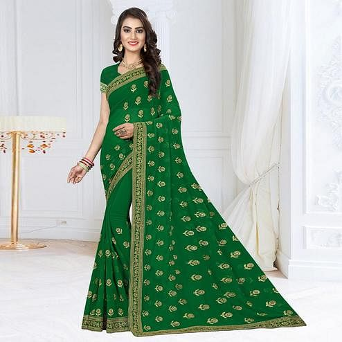 Elegant Green Colored Partywear Embroidered Georgette Saree