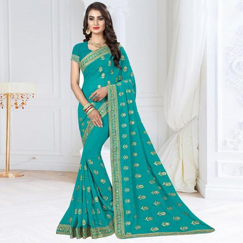 Refreshing Sky Blue Colored Partywear Embroidered Georgette Saree
