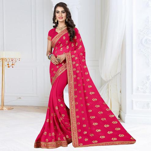 Adorable Deep Pink Colored Partywear Embroidered Georgette Saree