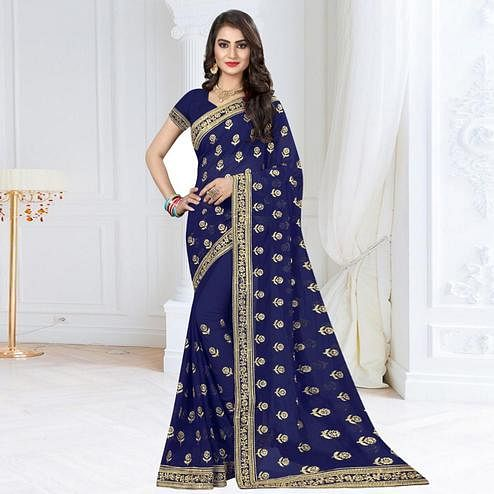 Impressive Navy Blue Colored Partywear Embroidered Georgette Saree