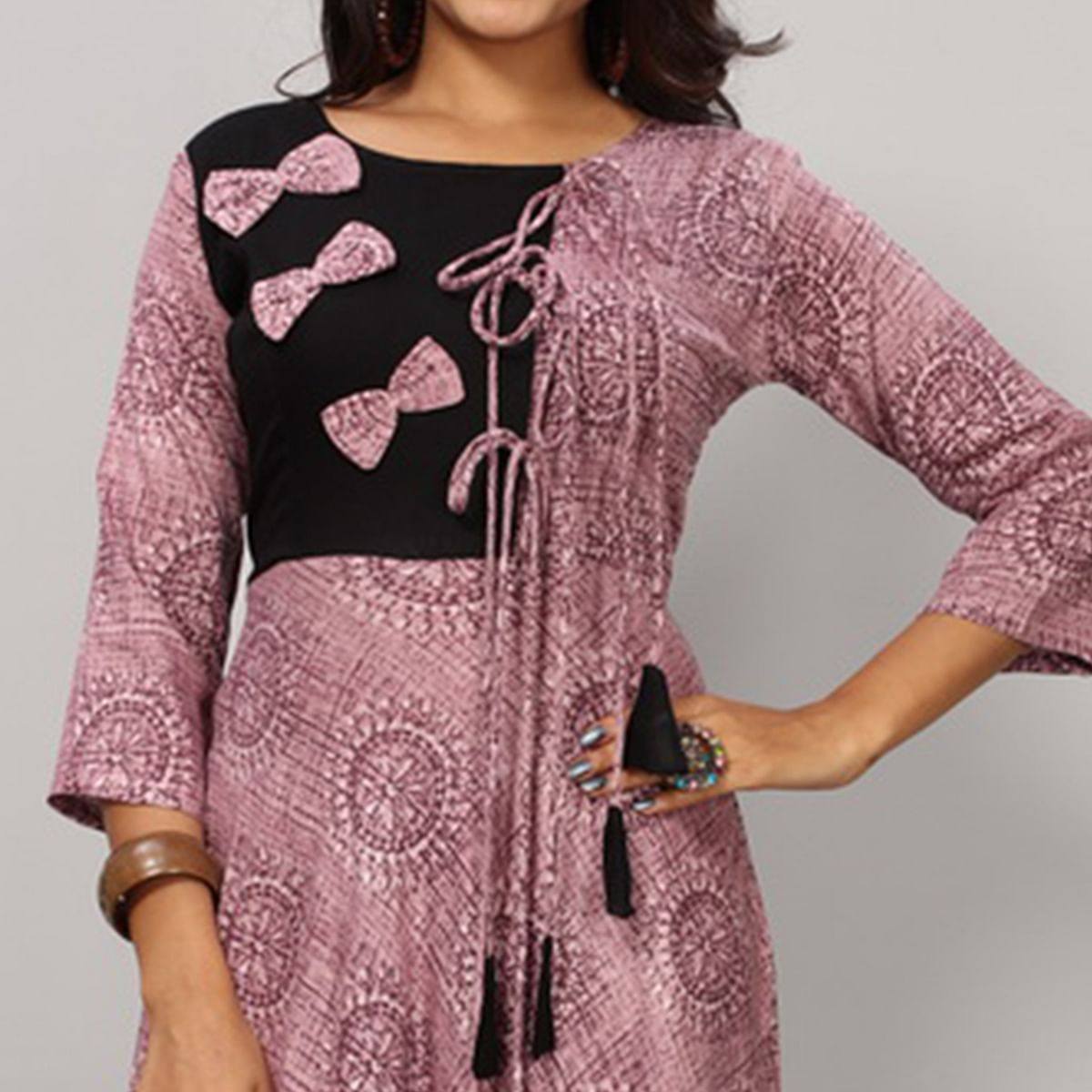 Appealing Light Purple Colored Partywear Printed Rayon Long Kurti