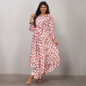 Groovy White Colored Partywear Printed Rayon Long Kurti