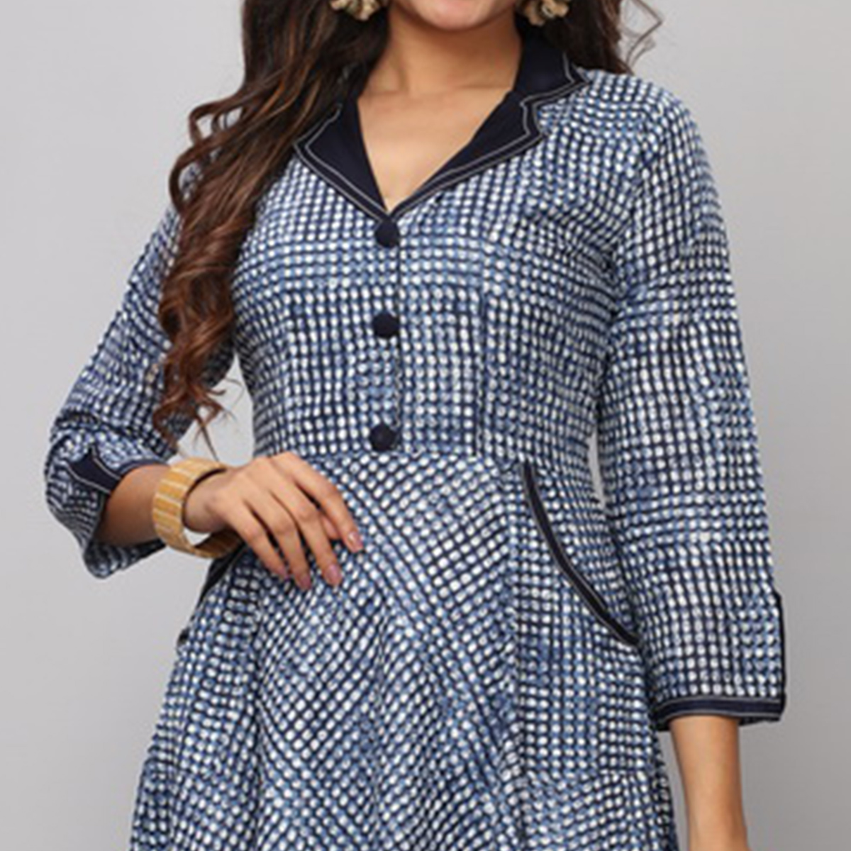 Capricious Light Blue Colored Partywear Printed Rayon Long Kurti