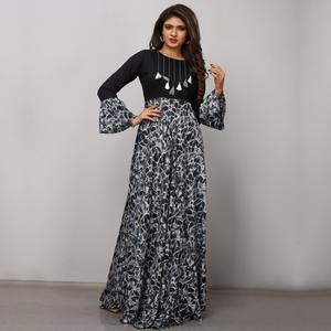 Adorning Black-Gray Colored Partywear Printed Rayon Long Kurti