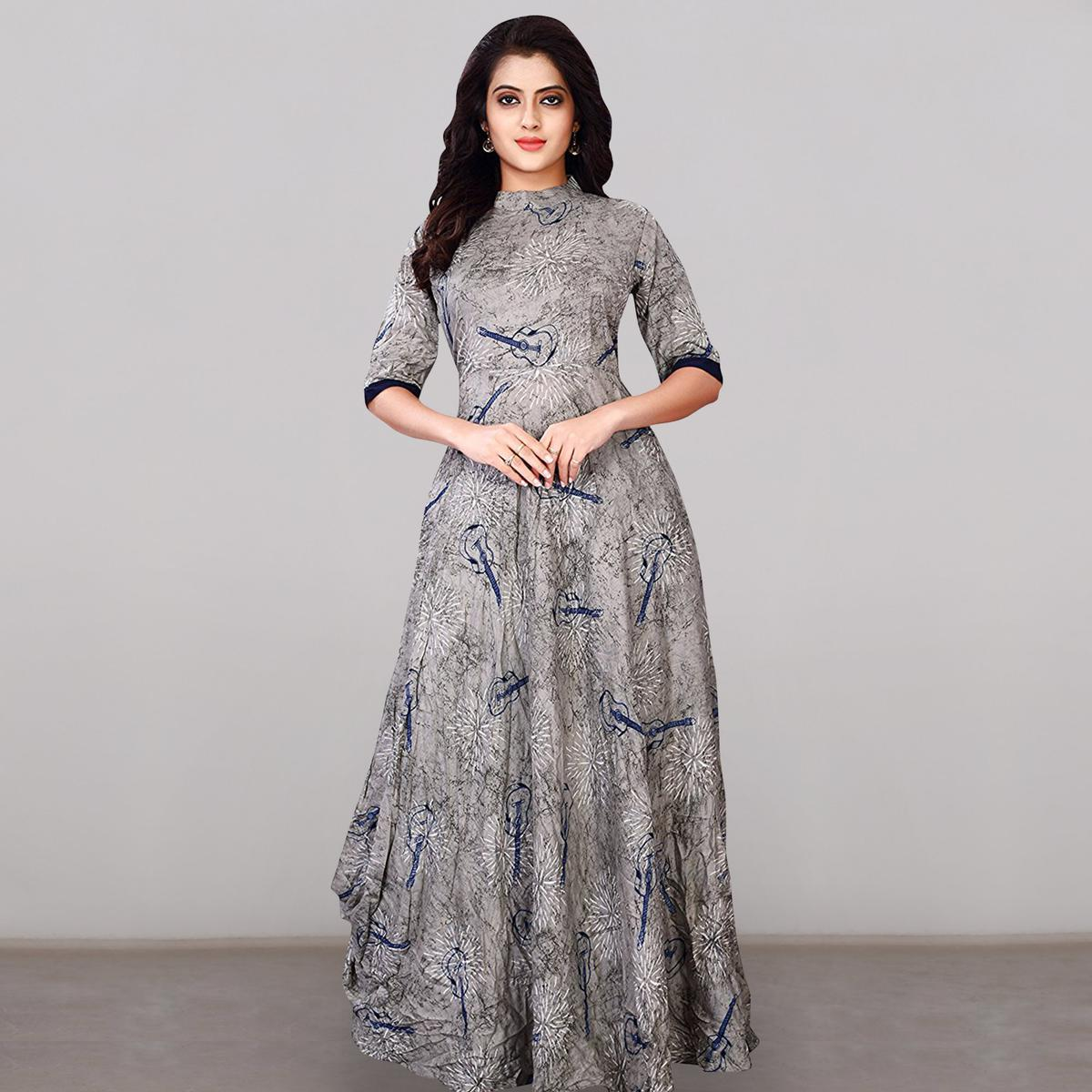 86a741a059 Buy Captivating Gray Colored Partywear Printed Rayon Long Kurti for womens  online India, Best Prices, Reviews - Peachmode