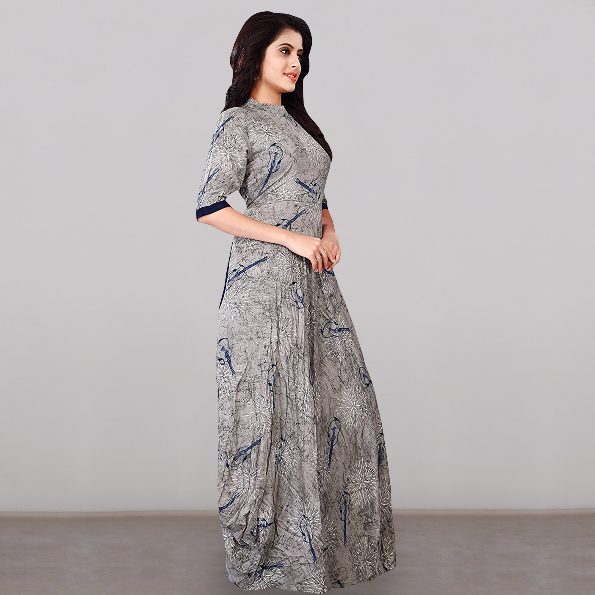 Captivating Gray Colored Partywear Printed Rayon Long Kurti