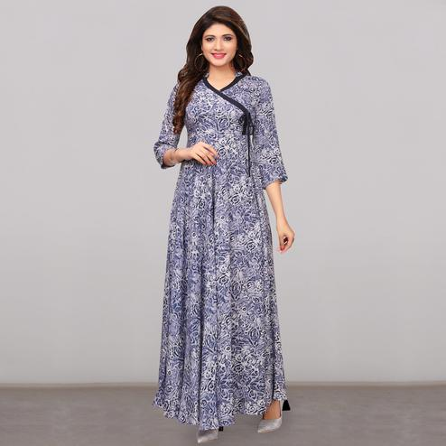 Elegant Blue Colored Partywear Printed Rayon Long Kurti
