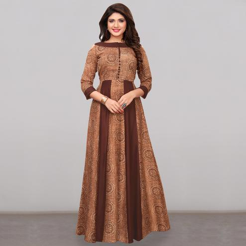 Alluring Brown Colored Partywear Printed Rayon Long Kurti