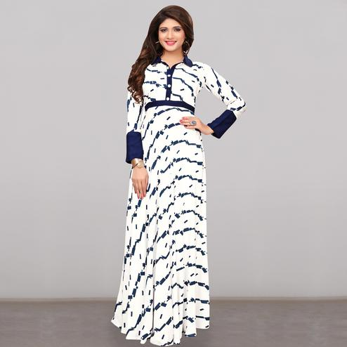 Radiant White Colored Partywear Printed Rayon Long Kurti