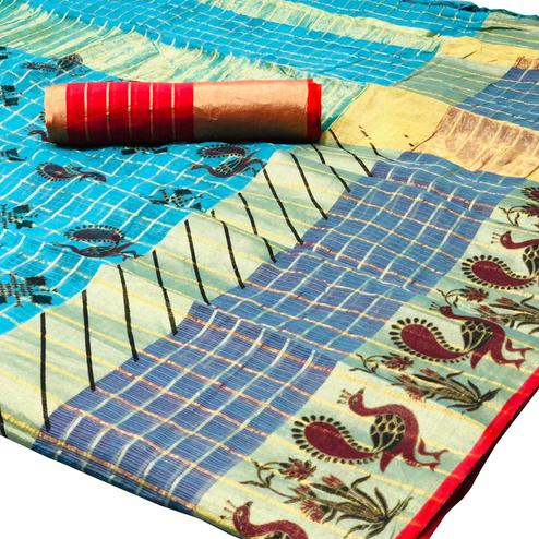 Appealing Sky Blue Colored Festive Wear Foil Printed Kota Silk Saree