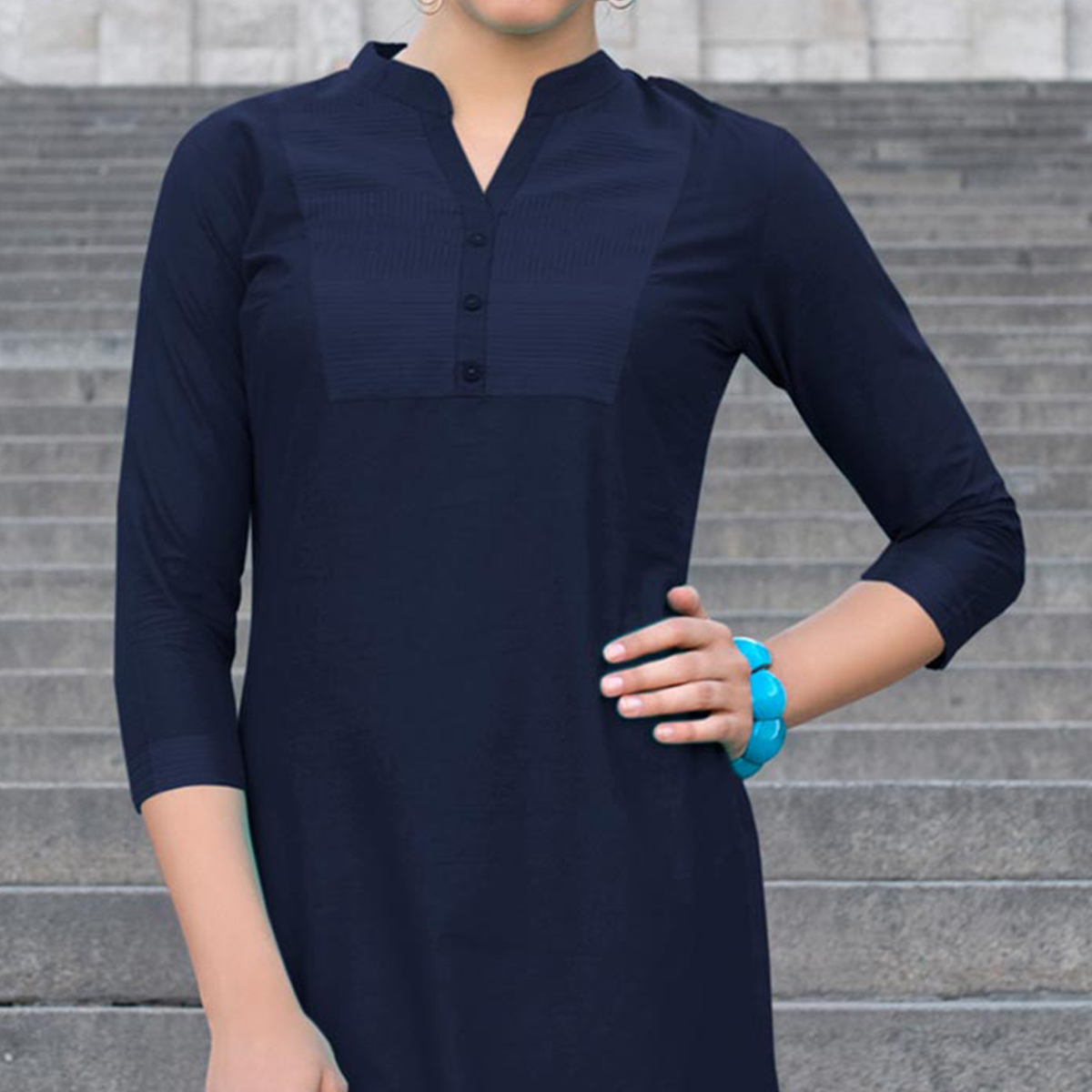 Blue Cotton Designer Kurti