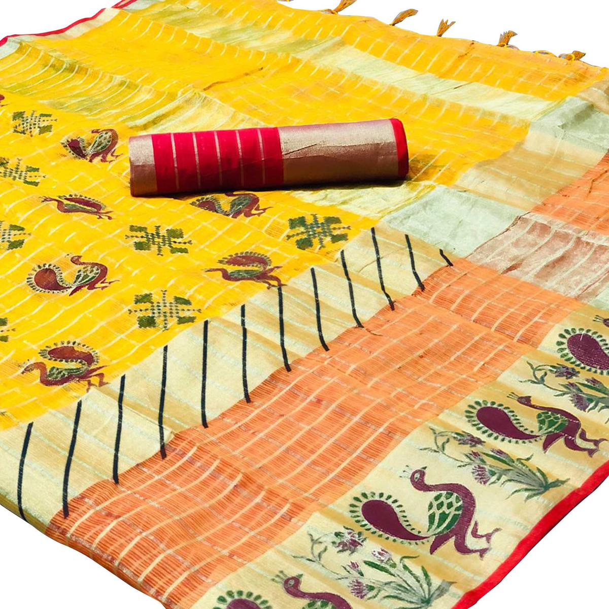 Refreshing Yellow Colored Festive Wear Foil Printed Kota Silk Saree