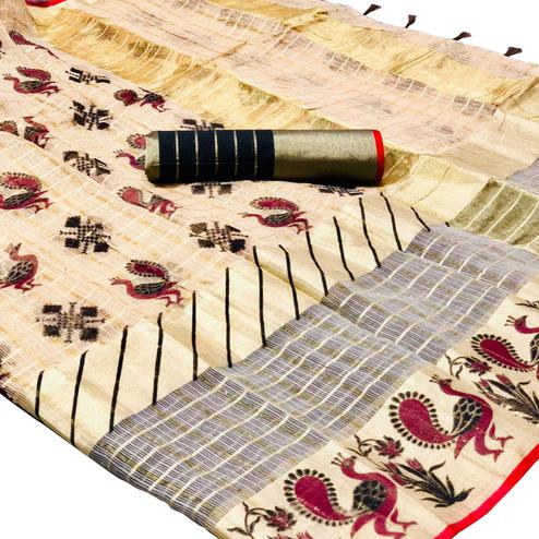 Eye-Catching Cream Colored Festive Wear Foil Printed Kota Silk Saree