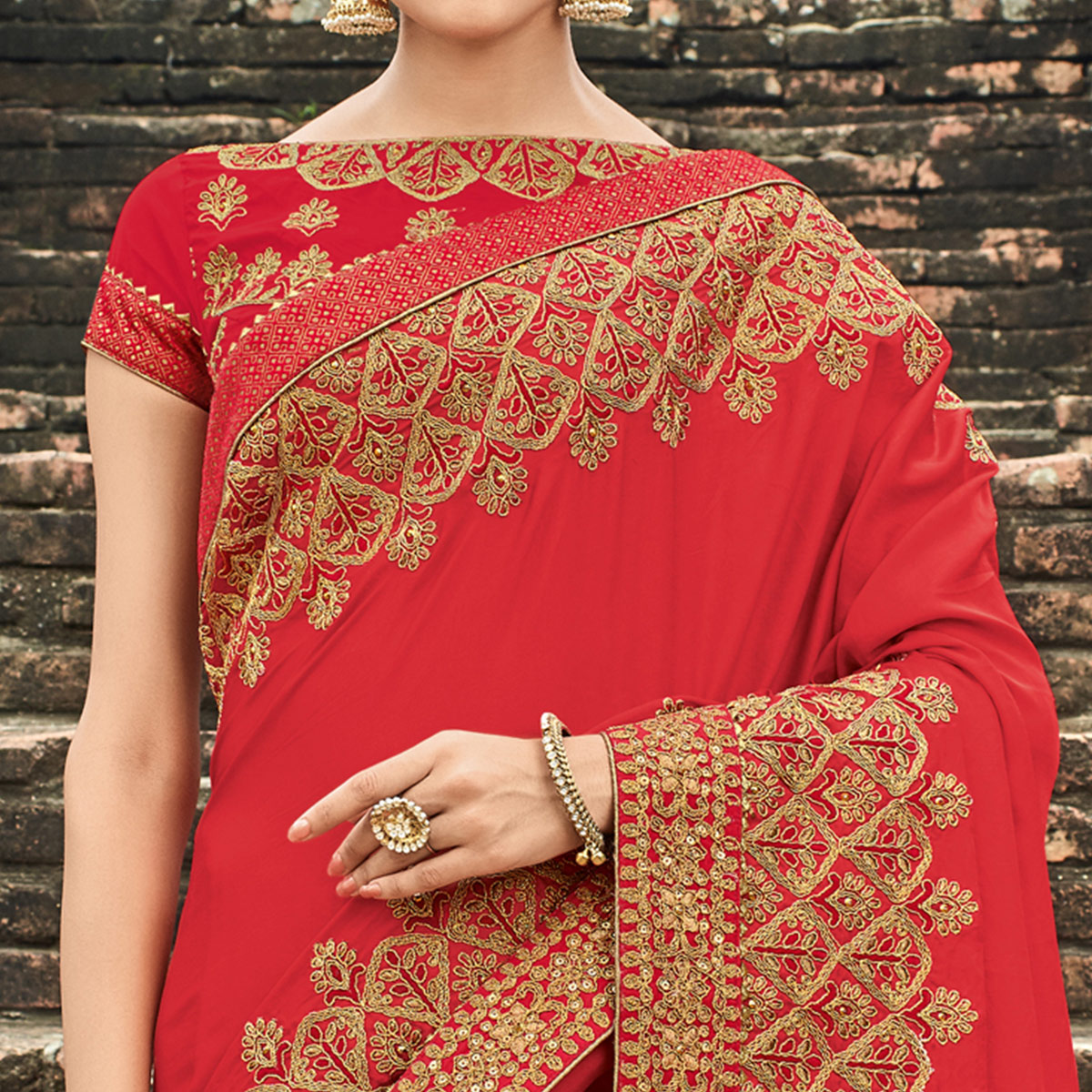 Dazzling Red Colored Party Wear Embroidered Silk Saree